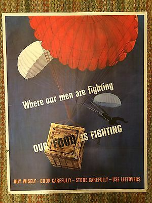 Original WWII Poster Where Our Men are Fighting, Our Food is Fighting 1943