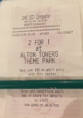 2 For 1 ALTON TOWERS VOUCHER From GAME