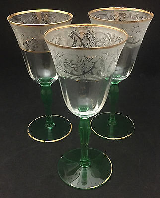 Glastonbury-Lotus Tall Water Goblets (set of 3) - Green Stem Etched Band & Gilt