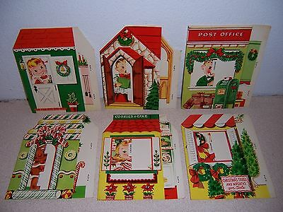 1950s VTG UNUSED POP-OUT STAND-UP CHRISTMAS CARD LOT
