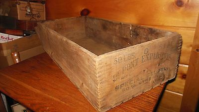 VINTAGE WOODEN EXPLOSIVES MINING BOX from DUPONT