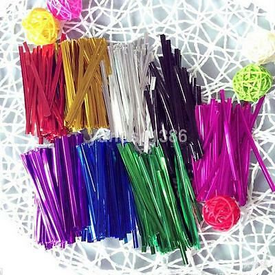 Upto 800x 6 metallic colors 8cm twist ties for candy food gift cellophane bag