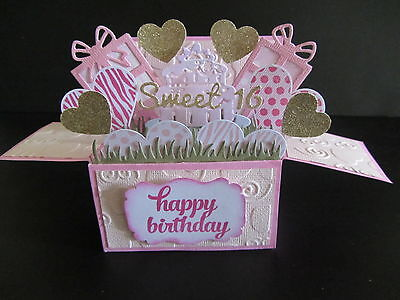 Handmade card, 3D birthday Card in a box -Sweet 16, PERSONALISED