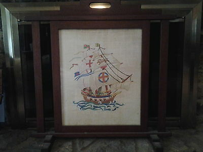 Fireplace antique needlepoint wood framed artwork
