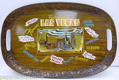 Vintage Las Vegas Collectible Serving Tray Old Hotel Names & Signs Japan