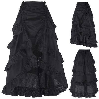 Womens Steampunk Victorian Gothic Costume Cotton Ruffles Dance Show Girl Skirt