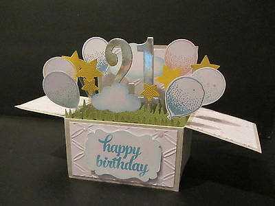 Handmade card, 3D birthday Card in a box - 21st, -balloons, PERSONALISED