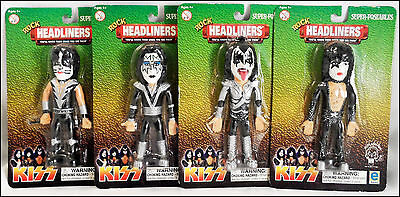 KISS Set Of 4 Headliners Super-Poseables Dolls Gene Simmons Paul Stanley