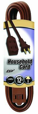 Coleman Cable 9403-07 12-Foot Triple Tap Extension Cord (Brown) 12-feet New