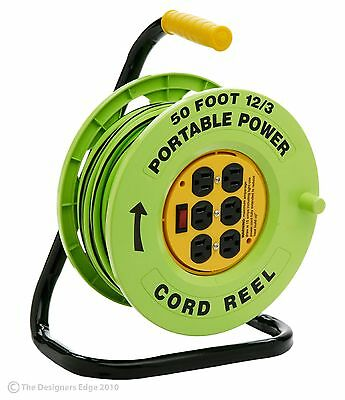 Designers Edge E-238 50-Foot Power Stations 12/3-Gauge Cord Reel with 6 O... New
