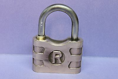 "Vintage Solid Brass ""R"" Padlock Lock - Antique"