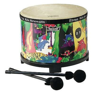Remo Kids Percussion Floor Tom 10 Diameter with Mallet Rain Forest Fabric New