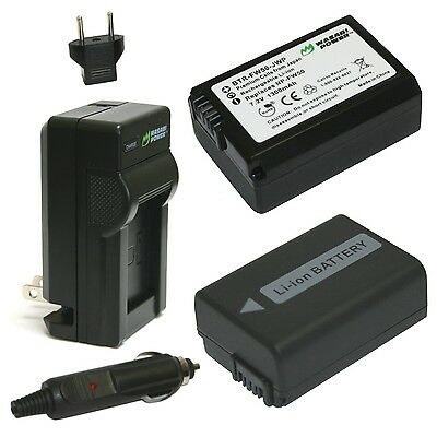Wasabi Power Battery (2-Pack) and Charger for Sony NP-FW50 New