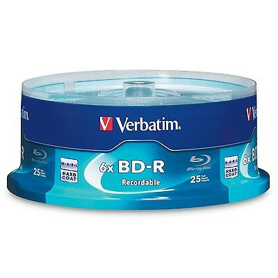 Verbatim BD-R 25GB 6X with Branded Surface - 25pk Spindle Box 97457 25 New