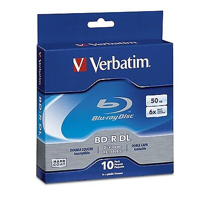 Verbatim BD-R DL 50GB 6X with Branded Surface - 10pk Spindle Box 97335 New