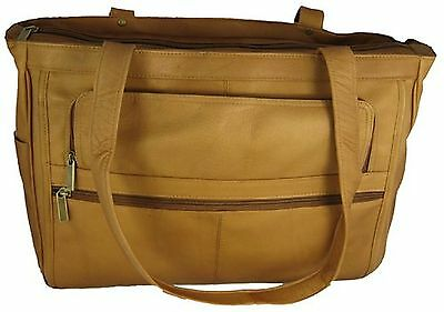 David King & Co. Women's Multi Pocket Briefcase Plus Tanned One Size New