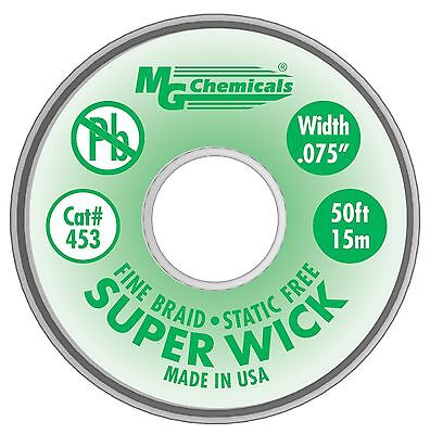 MG Chemicals 400 Series #3 Fine Braid Super Wick with RMA Flux 50-Feet Le... New