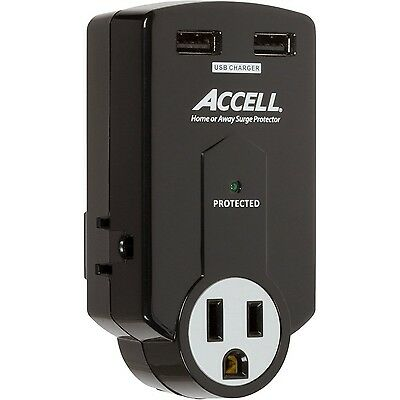 Accell D080B-011K Travel Surge Protector with 612 Joules Dual USB Chargin... New