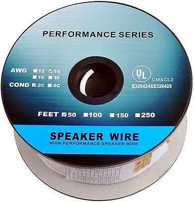 C&E 250-Feet 14 AWG CL2 Rated 2-Conductor Loud Speaker Cable 14AWG 250 Feet New