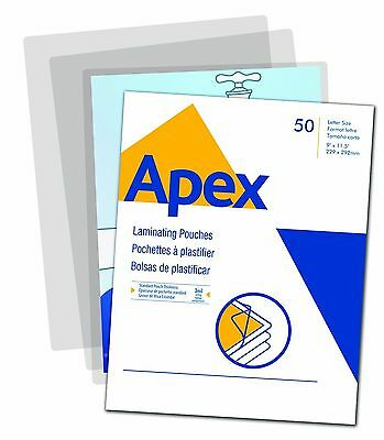 Apex Standard Laminating Pouches Letter Size for 3ml Setting 50 Per Pack New