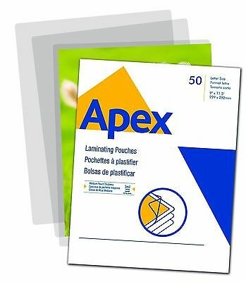 Apex Medium Laminating Pouches Letter Size for 5ml Setting 50 Per Pack New