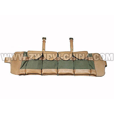 China Czech Army Leather Canvas Hunting Ammo Pouch Magazine Bag 4 Clips Replica