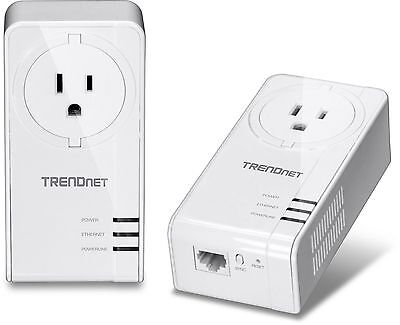 TRENDnet Powerline 1200 AV2 Adapter Kit with Built-In Outlet 2 Adapters w... New