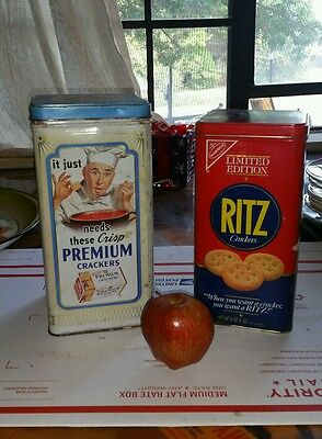 Lot of 2 Vintage Nabisco Ritz and Premium Crackers Storage Tin Cans