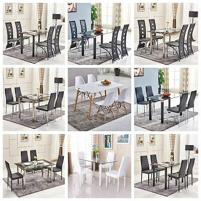 Black White Rectangle Glass Dining Table Set and 4 Faux Leather Chrome Chairs