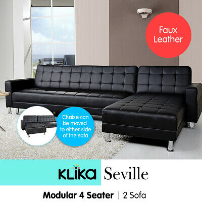 Corner Sofa Bed Lounge Couch Modular Furniture Home PU Faux Leather Chaise Black