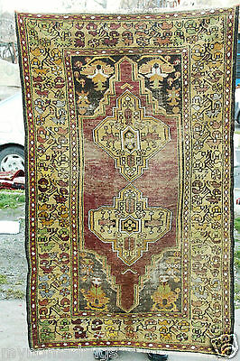 Ca1900-1939s 3'9''x6' Natural Old  Muted Dyes Wool Pile Antique Tribal Rug