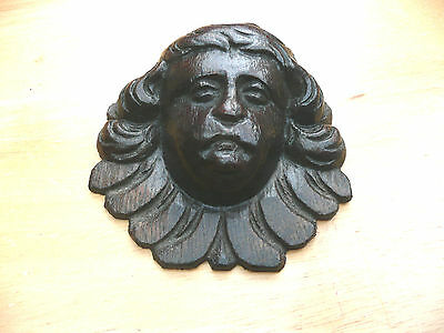 Stunning Antique Carved Oak Cherub / Angle's  Head. Wood Wooden Gothic Church