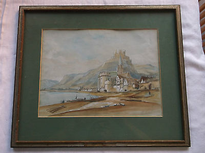 FRAMED WATERCOLOUR PAINTING 1800s A WALLED EUROPEAN TOWN FROM OFFICERS MESS