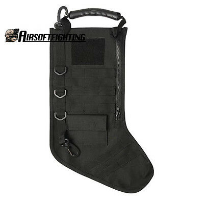 Tactical Molle Gear Christmas Stocking Socks Military Pouch Bag Black for Gift