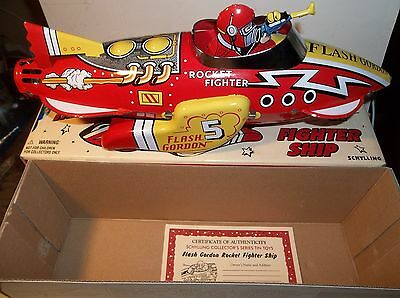Flash Gordon Large Tin Rocket Toy Mint In Box Schylling Repro With Certificate