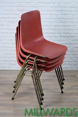 Set Of 4 Vintage Industrial Remploy Red Stacking Cafe Bar Kitchen Dining Chairs