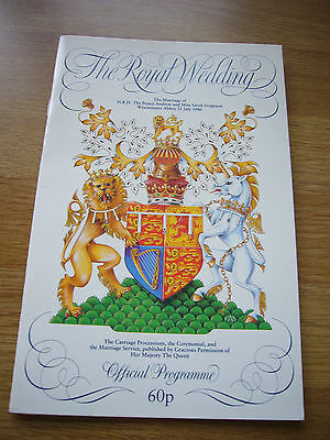 Rare Andrew & Sarah Royal Wedding Official programme 1986 24 pages