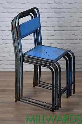 Set Of 4 Vintage Brown Metal Industrial Stacking Cafe Bar Garden Chairs