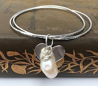 Handmade Sterling Silver Double Bangle with Silver Heart and Freshwater Pearl