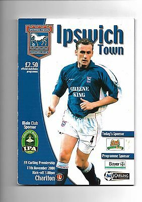 2000/1 Ipswich Town v Charlton Athletic football programme