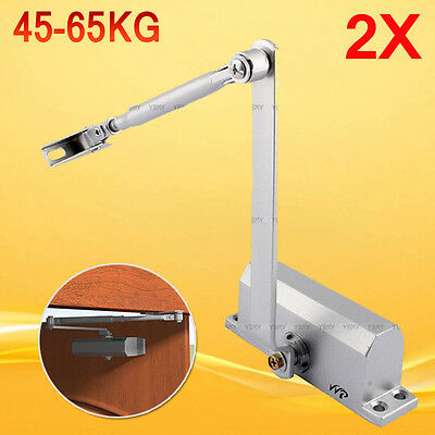 2x Adjustable Automatic Fire Rated Hold Open Overhead Door Closer Suits 45~65Kg