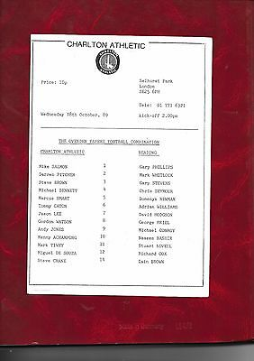1989/90 Charlton Athletic Reserves v Reading Reserves (at Crystal Palace)