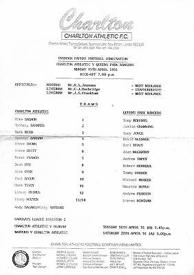 1990/1 Charlton Athletic Reserves v Queens Park Rangers Reserves