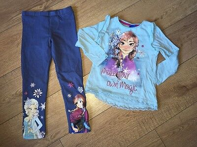 Frozen F&F Tesco 5-6 Years Outfit Disney Leggings Top Elsa Anna Excellent