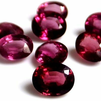 NATURAL VERY PRETTY RASPBERRY RED GARNET LOOSE GEMSTONES (2 pieces) OVAL SHAPE