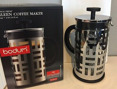 Bodum Eileen 8 Cup 1L 34fl oz Cafetiere Coffee Cafe New Free Postage Silver