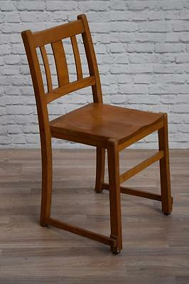 Set Of 4 Vintage Stacking Stackable School Church Cafe Bar Dining Kitchen Chairs