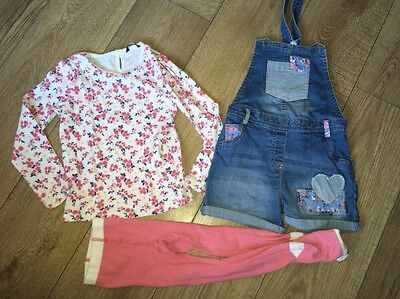 George Outfit Leggings Top Dungarees 4-5 Years Great Condition Floral