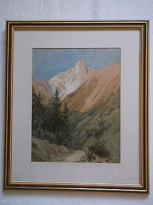 Framed Watercolour Painting W.f.caswell 1875 Aiguille Be Dru Montanvert Chamonix