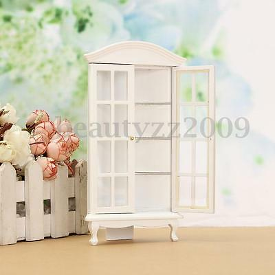 1:12 White Wooden Cabinet Dolls House Miniature Home Room Kitchen Furniture Kids